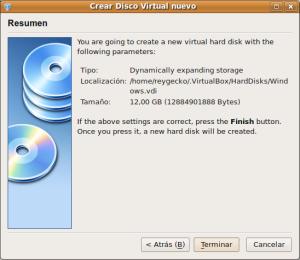 Última ventana para crear un disco virtual