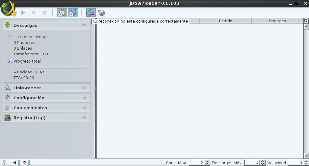 Configurar la reconexión de JDownloader