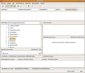 Pantalla de inicio de FileZilla (clic para ampliar)