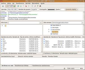 ¡FileZilla a pleno rendimiento! (clic para ampliar)